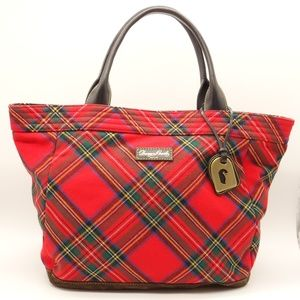 Dooney & Bourke Red Plaid Wool & Leather Tote Bag